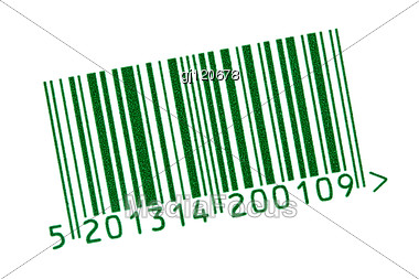 Green Barcode Tag For Products Stock Photo