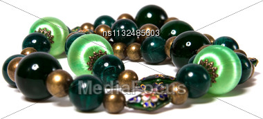 Green Beads Isolated On White Background Stock Photo