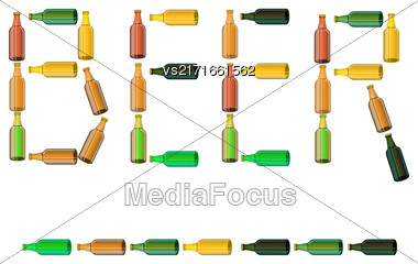 Green Brown Glass Beer Bottles Isolated On White Background Stock Photo