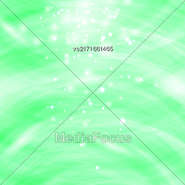 Green Burst Blurred Background. Sparkling Texture. Star Flash. Glitter Particles Pattern. Starry Explosion Stock Photo