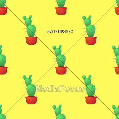 Green Cactus Seamless Pattern On Yellow. Houseplant Background Stock Photo