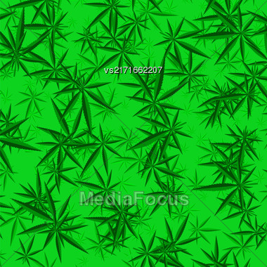 Green Cannabis Leaves Background. Green Marijuana Pattern Stock Photo