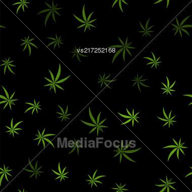 Green Cannabis Leaves Seamless Background. Marijuana Pattern Stock Photo