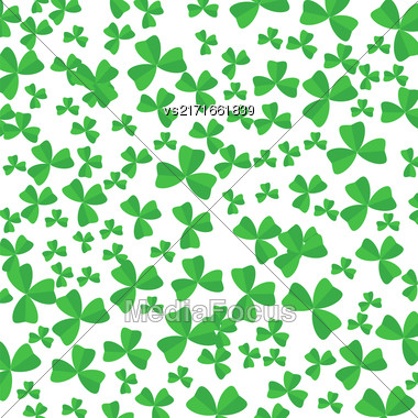 Green Cartoon Clover Leaves Isolated On White Background Stock Photo