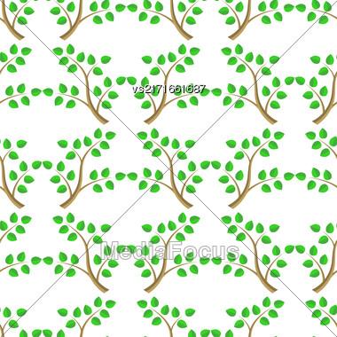 Green Cartoon Tree Leaves Seamless Background. Summer Plant Pattern Stock Photo