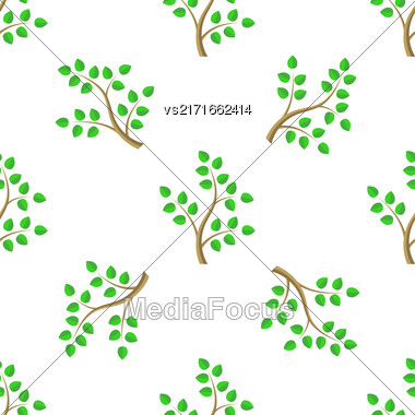 Green Cartoon Tree Leaves Seamless Background. Summer Plant Pattern Stock Photo
