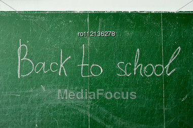 Green Chalk Blackboard Written Back To School With White Chalk Stock Photo