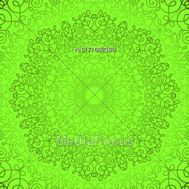Green Circle Lace Ornament, Round Ornamental Geometric Doily Pattern, Christmas Snowflake Decoration Stock Photo