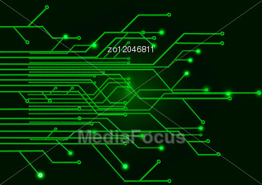 green circuit board on a black background stock photo zo12046811
