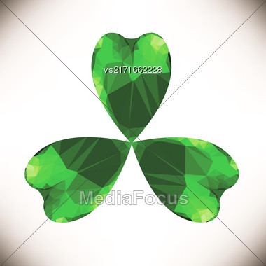 Green Clover Leaf Isolated On White Background Stock Photo