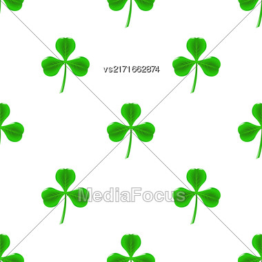Green Clover Seamless Pattern On White. Shamrock Background Stock Photo