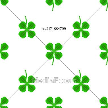 Green Clover Seamless Pattern On White. Shamrock Background Stock Photo