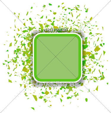 Green Confetti Banner Isolated On White Background. Set Of Particles Stock Photo