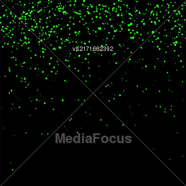 Green Confetti Isolated On Black Background. Abstract Green Parts Stock Photo