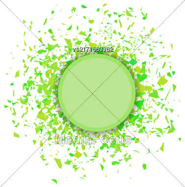 Green Confetti Round Banner Isolated On White Background. Set Of Particles Stock Photo