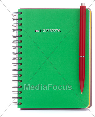 Green Cover Notebook With Red Pen Isolated On White Background Cutout Stock Photo