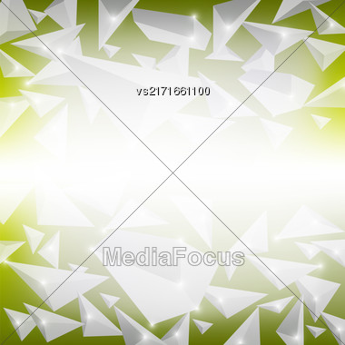 Green Crystal Pattern. Explosion Of Particles. Abstract Parts Background Stock Photo