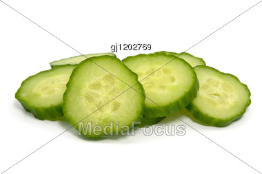 Green Cucumber Slices Stock Photo