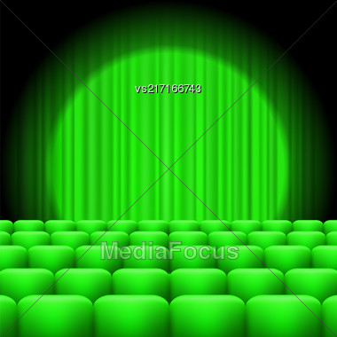 Green Curtains With Spotlight And Seats. Classic Cinema With Green Chairs Stock Photo