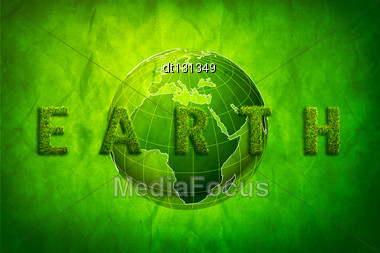 Green Earth Concept, Abstract Grungy Backgrounds With Cardboard Texture Stock Photo