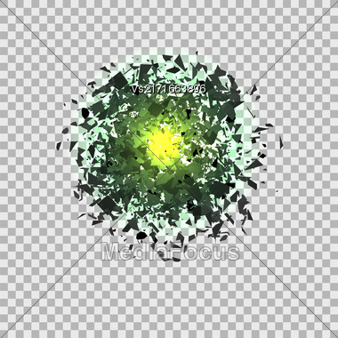 Green Explosion Cloud Of Grey Pieces On Checkered Background. Sharp Particles Randomly Fly In The Air Stock Photo