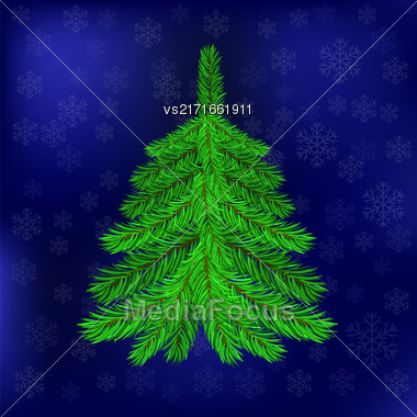 Green Fir On Blue Snowflakes Background. Christmas Blue Night Sky. Symbol Of Christmas Stock Photo