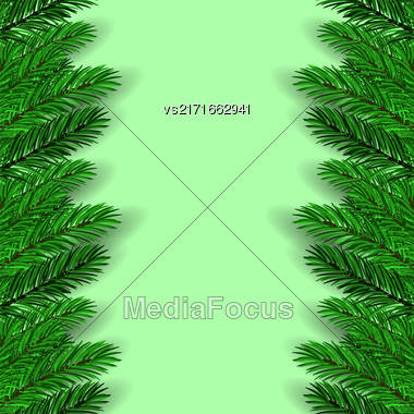 Green Fir Branches On Green Background. Christmas Background Stock Photo