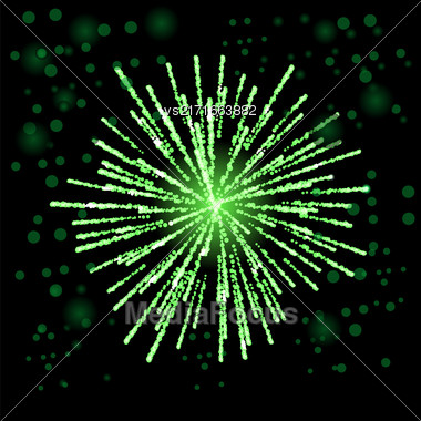 Green Firework Lights Up The Sky On Black Background Stock Photo