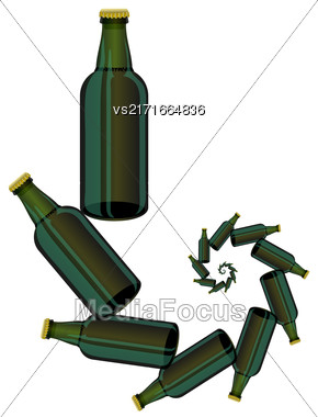 Green Glass Beer Bottles Isolated On White Background Stock Photo