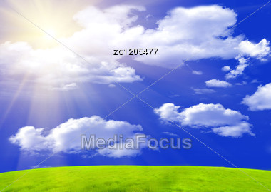 Green Grass With Dew Shined With A Sunlight Stock Photo