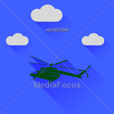 Green Helicopter Silhouette On Blue Sky Background. Long Shadow Stock Photo