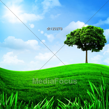 Green Hills Under The Blue Sky, Natural Backgrounds For Your Design Stock Photo