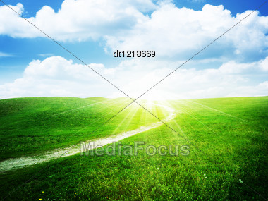 Green Hills Under Bright Sun, Natural Backgrounds Stock Photo