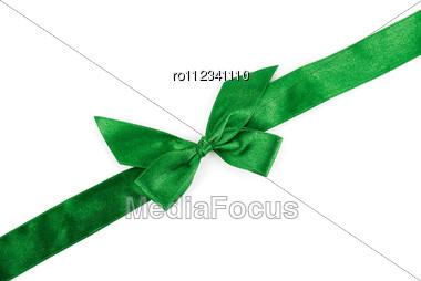 Green Holiday Ribbon Stock Photo