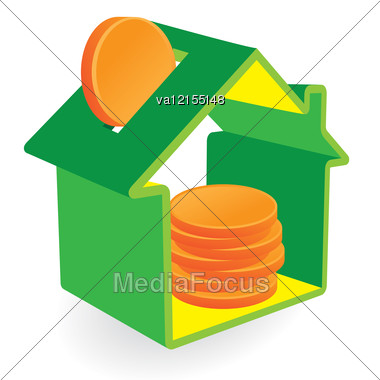 Green House Moneybox And Coin Signs. Real Estate And Environmental Concepts. Stock Photo