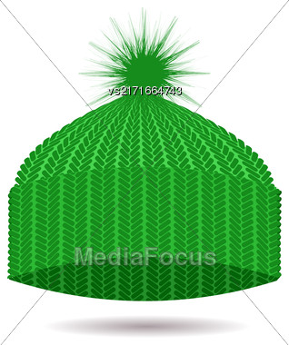Green Knitted Cap Isolated On White Background. Winter Hat Stock Photo