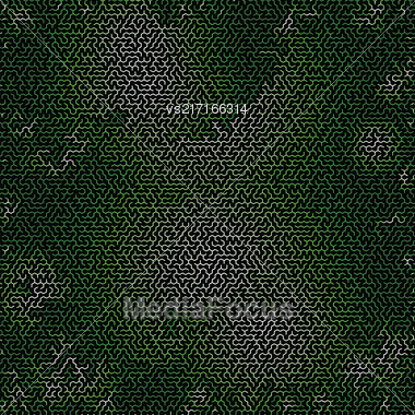 Green Labyrinth On Black Background. Kids Maze Stock Photo