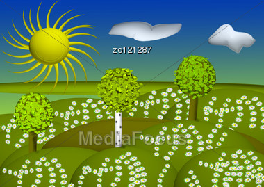 Green Landscape With Trees Clouds Flowers And Hills Stock Photo