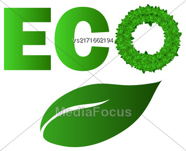 Green Leaves Letters Isolated On White Background Stock Photo