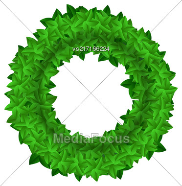 Green Leaves Round Isolated On White Background Stock Photo