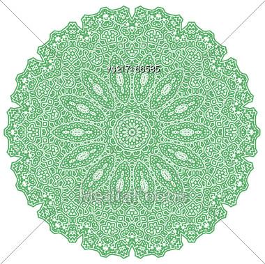 Green Mandala Isolated On White Background. Round Ornament Stock Photo