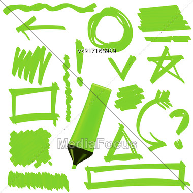 Green Marker Isolated On White Background. Set Of Graphic Signs. Arrows, Circles, Correction Lines Stock Photo