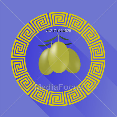 Green Olives In Greek Circle Frame Isolated On Blue Background. Long Shadow Stock Photo