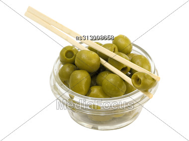 Green Olives In A Bowl Stock Photo