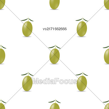Green Olives Isolated On White Pattern. Seamless Pattern Stock Photo