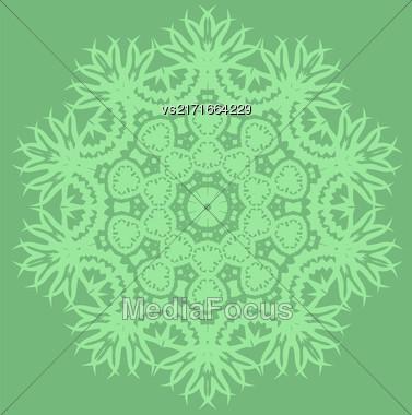 Green Ornamental Line Pattern. Endless Texture. Oriental Geometric Ornament Stock Photo
