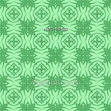 Green Ornamental Seamless Line Pattern. Endless Texture. Oriental Geometric Ornament Stock Photo