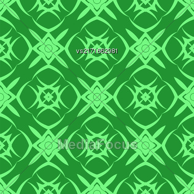 Green Ornamental Seamless Line Pattern. Endless Texture. Oriental Geometric Ornament Stock Photo