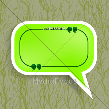 Green Paper Speech Bubble Isolated On Dark Background Stock Photo