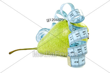Green Pear Wrapped By Blue Measure Tape Stock Photo